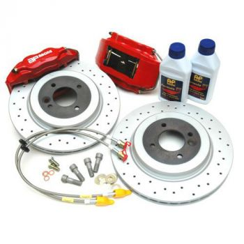 AP Brake kit for the R53 Mini Cooper and Cooper S, AP Red Calipers CP7611-1000